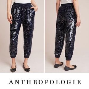 🦊NWT Anthropologie Suede + Sequin Joggers